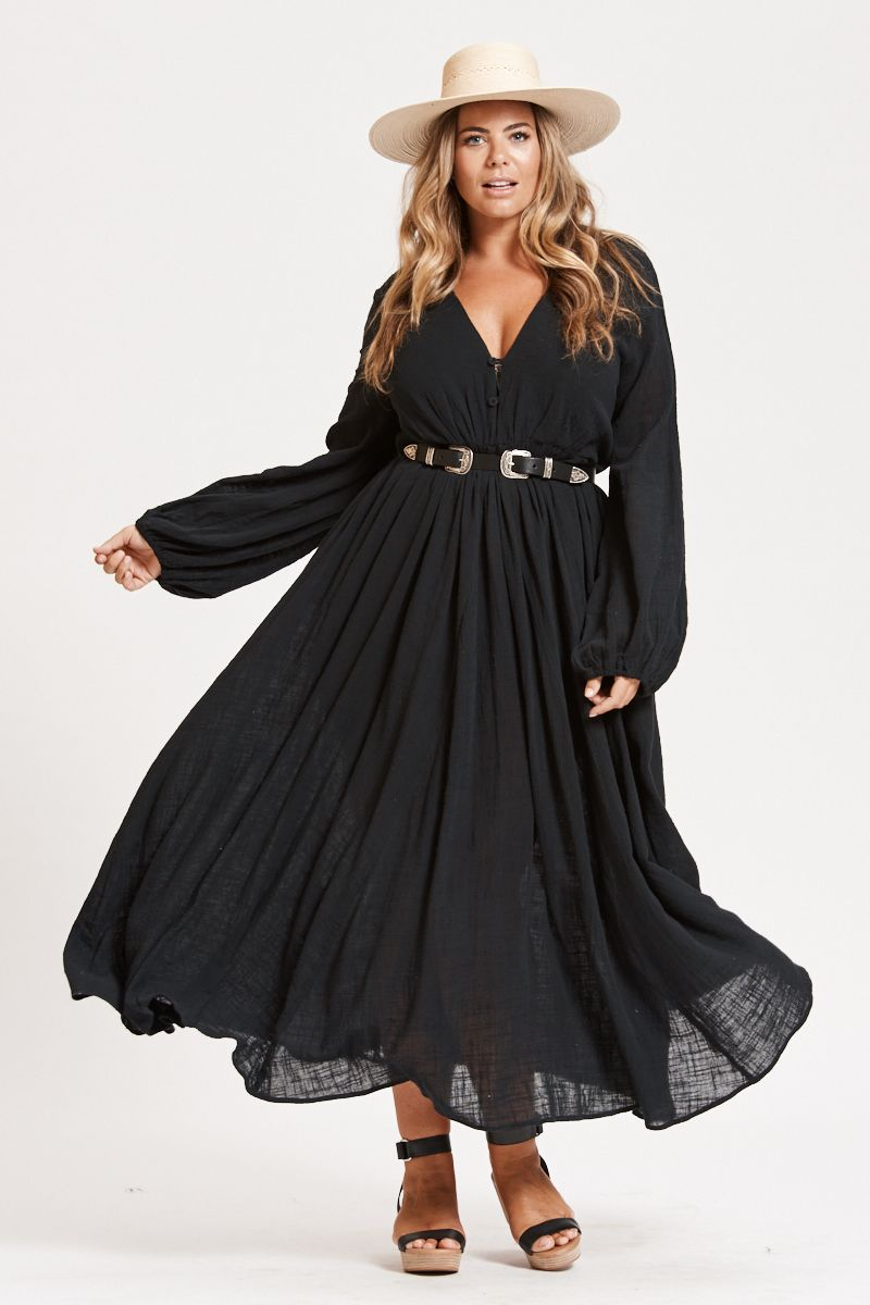 Plus Size Black Long Sleeve Maxi Dresses | Plus Size Maxi Dresses ...