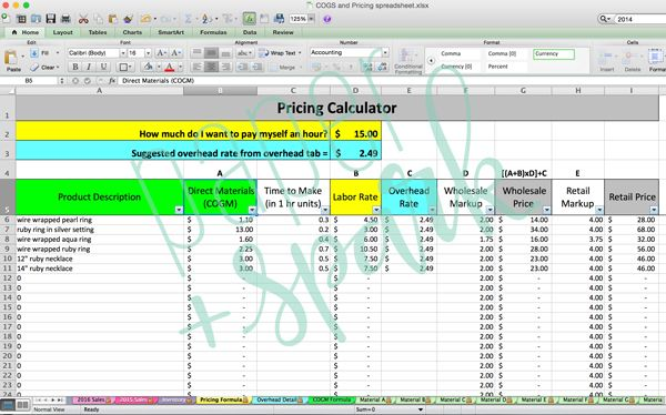Inventory Cost  Pricing Spreadsheet - Pricing Spreadsheet Template