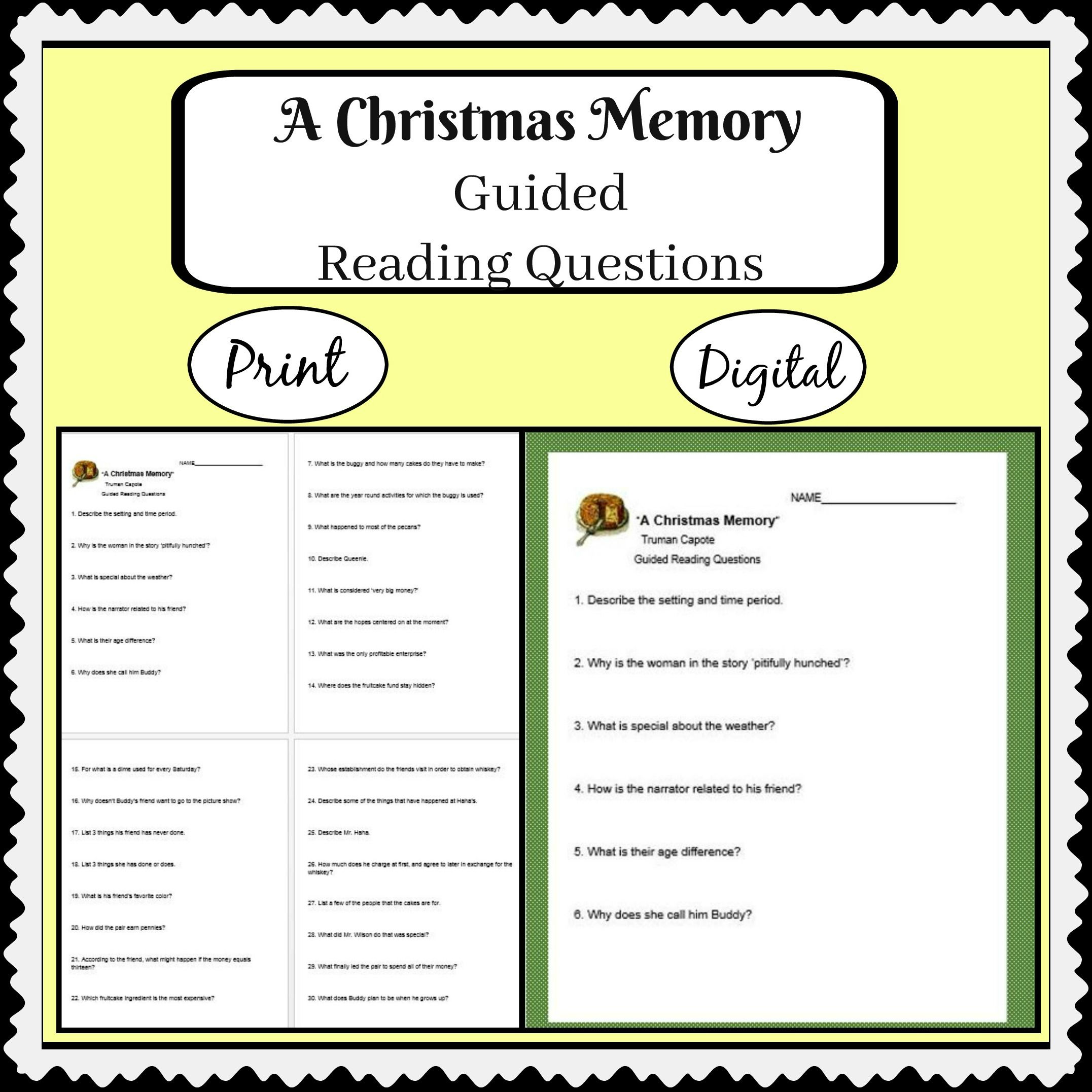 A Christmas Memory by Truman Capote with guided reading questions ...
