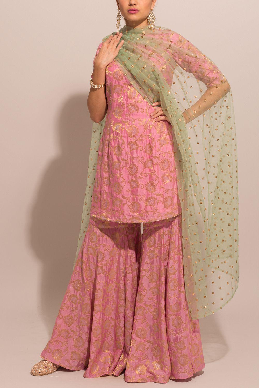 Pink Brocade Sharara Suit