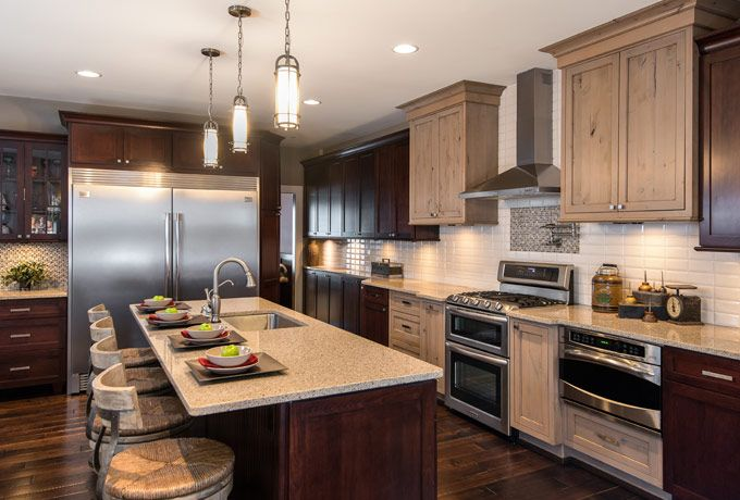 Comfortable As Well As Luxurious This Kitchen Utilizes Two Different Types Of Wood Kitchen Design Open Different Color Kitchen Cabinets Kitchen Island Design