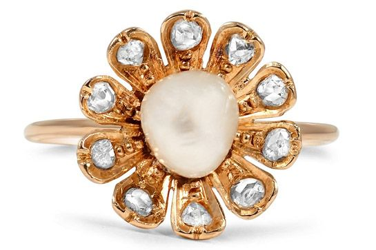 """brilliant earth: 'the mahola ring', $1900""  http://www.refinery29.com/vintage-engagement-ring-shopping#slide-23  The Art Nouveau Era Art collector and dealer Siegfried Bing's gallery and shop, L'Art Nouveau, which opened in Paris in 1895, is where the era finds its name. ""In 1900, the first year of a new century, Bing's installation at the Exposition Universelle in Paris introduced the new designs to the world,"" says Doyle. ""As the movement spread, artists from Spain, ..."