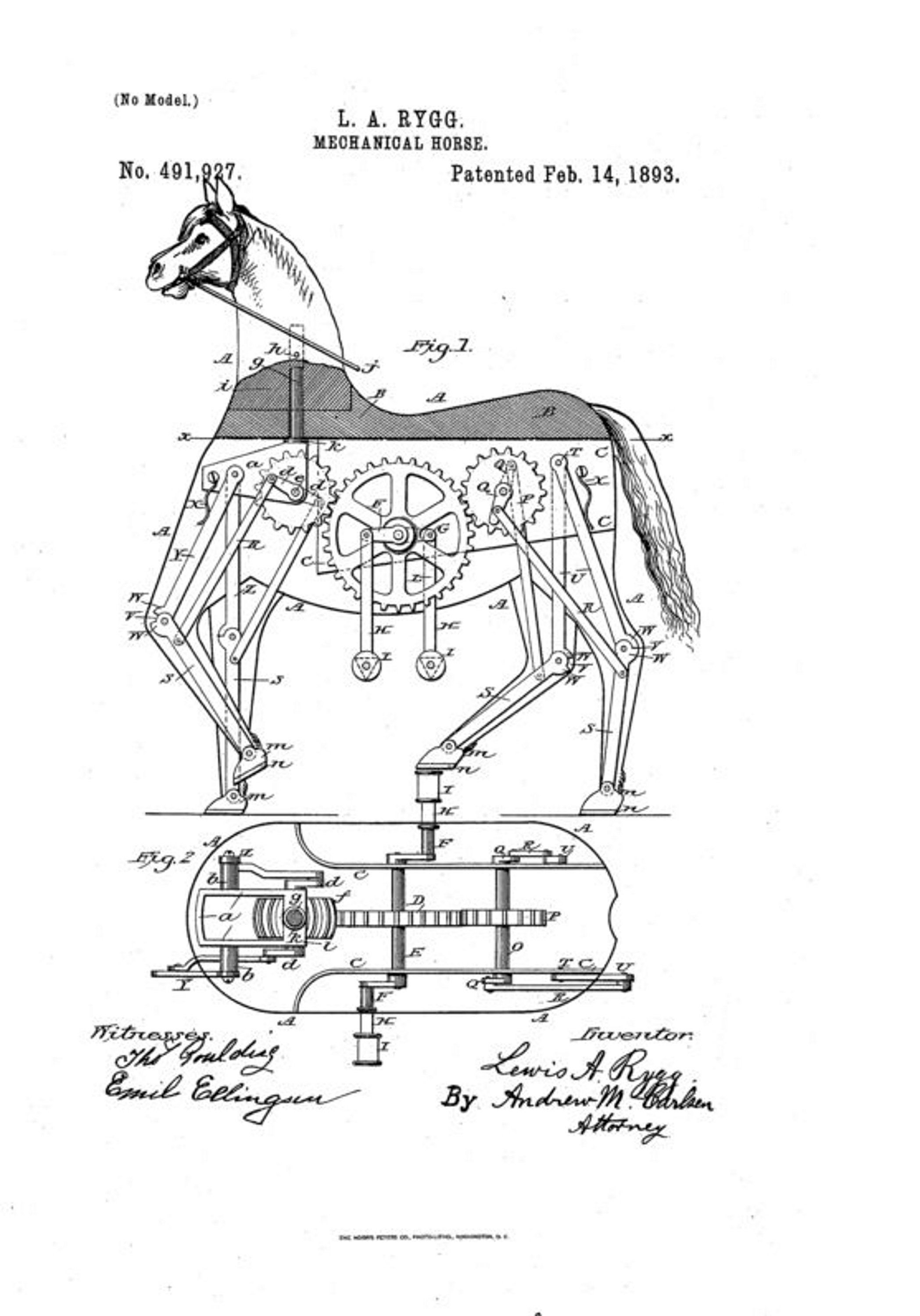 Mechanical Horse Patent Print Vintage Art Print
