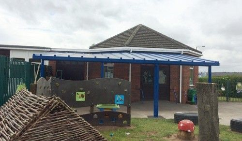We installed a 7.95m x 5.8m Coniston Wall Mounted Canopy at Hayfield Lane School & We installed a 7.95m x 5.8m Coniston Wall Mounted Canopy at ...
