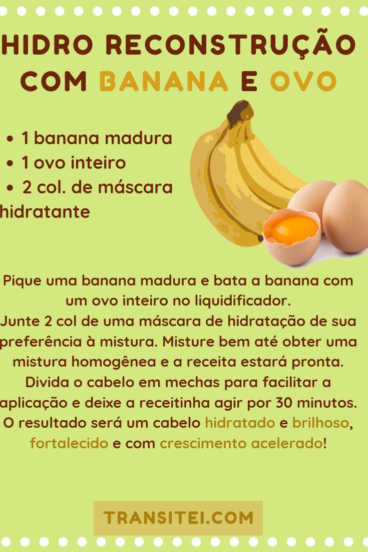 Hidro Reconstrução Para Cabelos Secos e Frágeis Com Banana e Ovo #cabelo