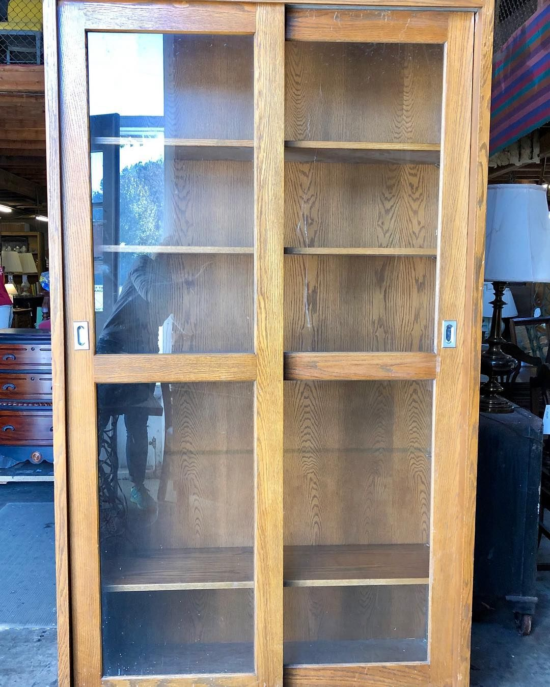 Amazing Oak Bookcase With Sliding Glass Doors Antique Vintage