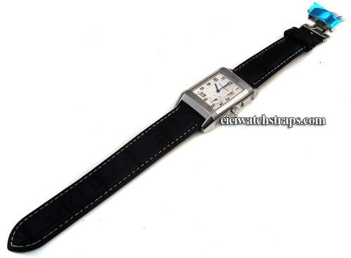 Black Crocodile Watchstrap White Stitching on butterfly deployant clasp Jaeger-LeCoultre Reverso