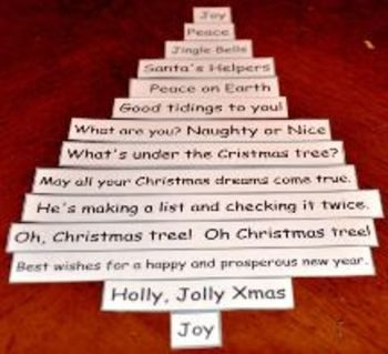 30 Christmas Saying On Strips For Students To Cut Out Directions Make A Shape Poem Examples Gallery Walk 1 00