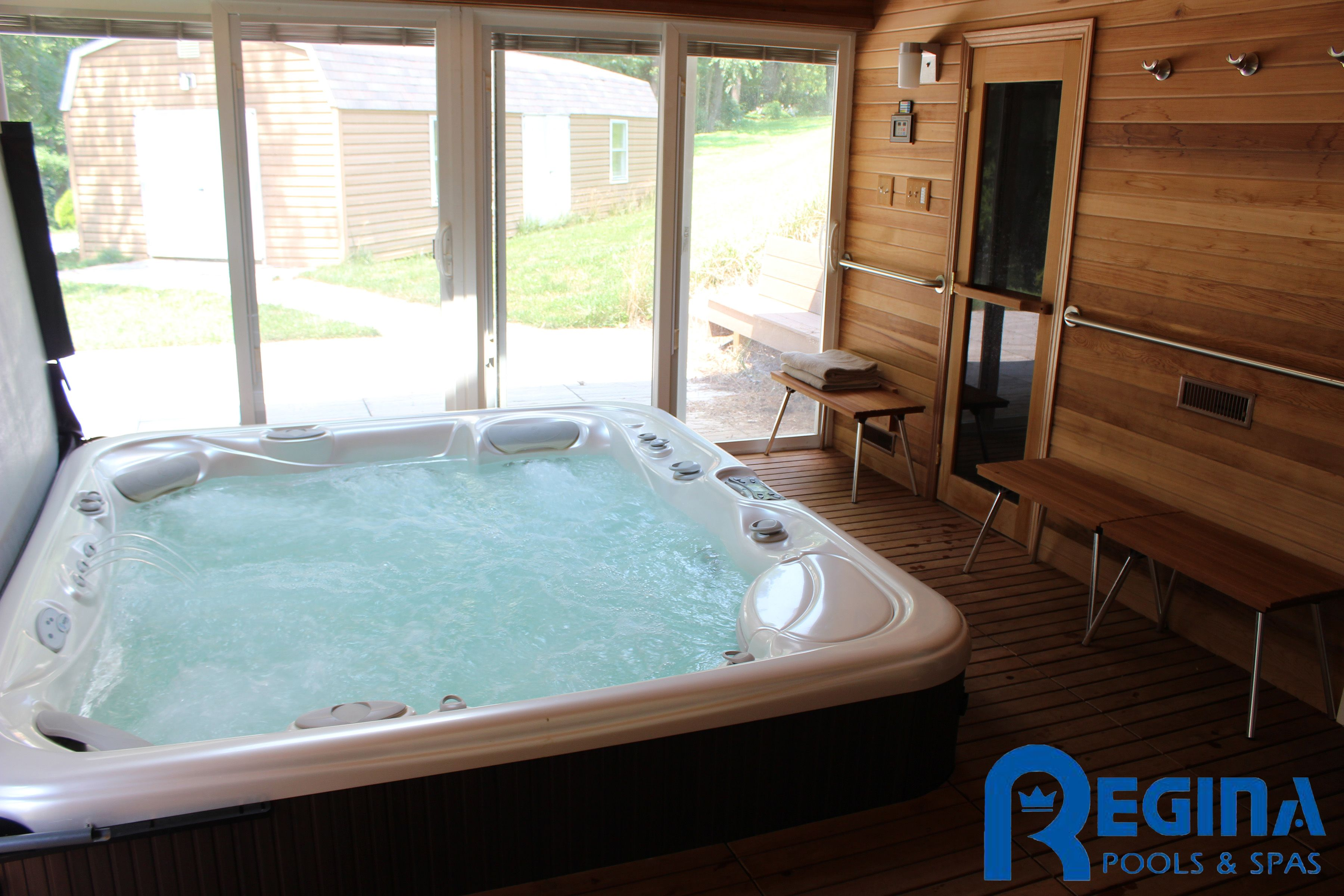 Hot Tub Sunk Into The Floor With Uprite Cover Lifter The
