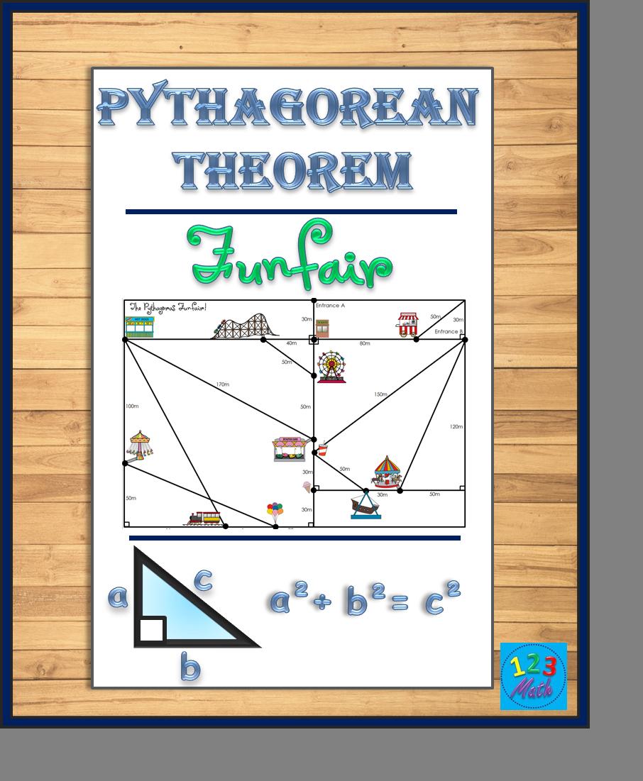 Pythagorean Theorem Funfair Pythagorean Theorem Activity Pythagorean Theorem Theorems [ 1101 x 906 Pixel ]