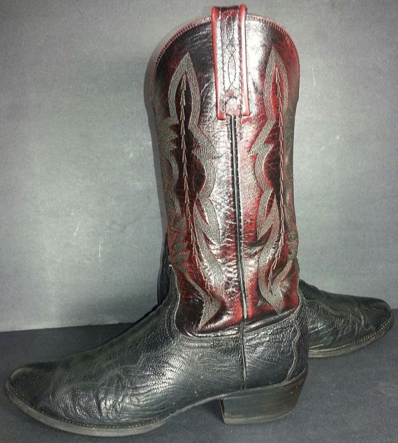 7cdb0ee7ff7 LUCCHESE Cherry Black Ostrich Leg Cowboy Boots Men's Sz 9, Exotic ...