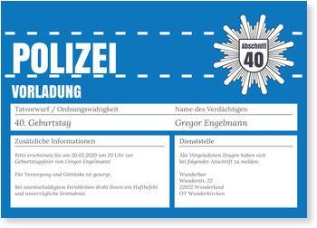 Einladungskarten Geburtstag, Polizeiliche Vorladung