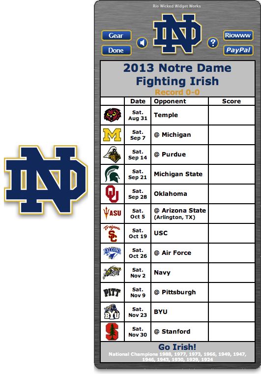 Free 2013 Notre Dame Fighting Irish Football Schedule