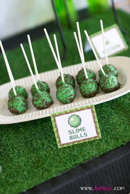 Minecraft Slime Ball Cake Pops Minecraft Birthday Minecraft