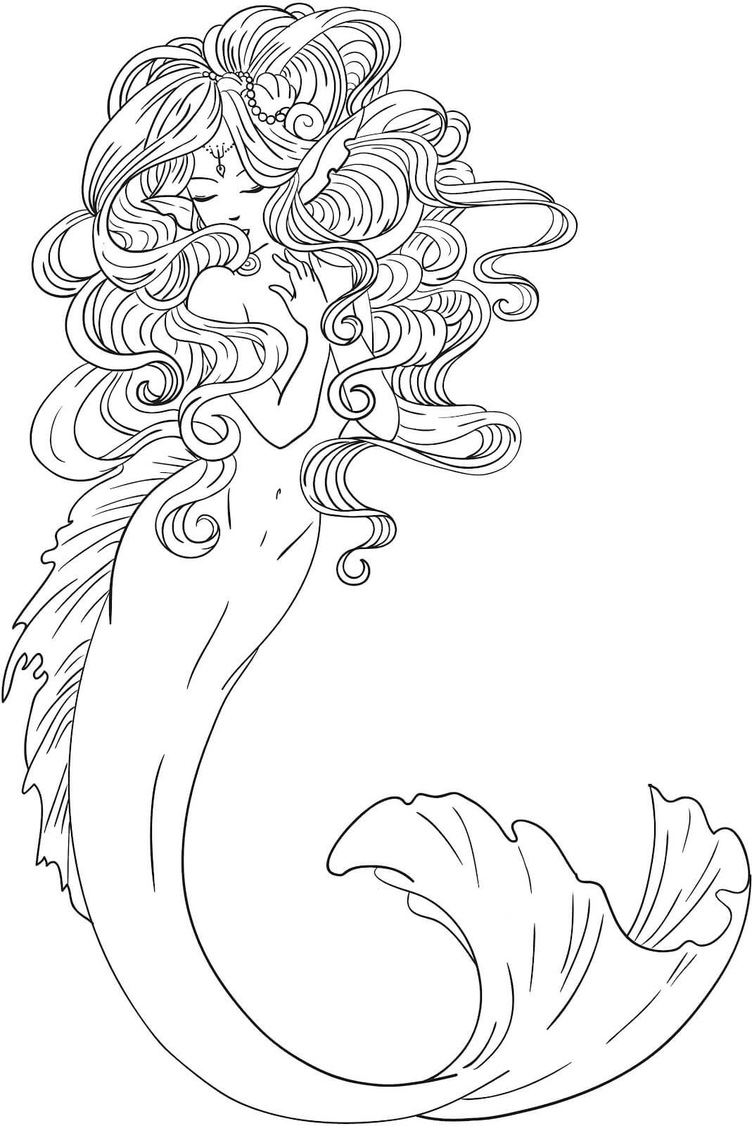 Adult Coloring Pages Mermaids Free Page