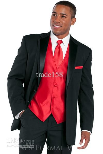SKU#P-628N Red Tuxedo Jacket with Black Shawl Lapel & Black ...