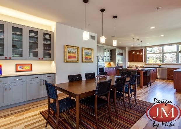 Contemporary kitchen & dining room remodel with grey cabinets ...