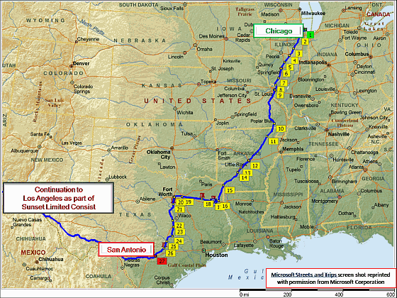 Texas Eagle Route From Chicago To San Antonio Chicago Travel Route Texas Travel