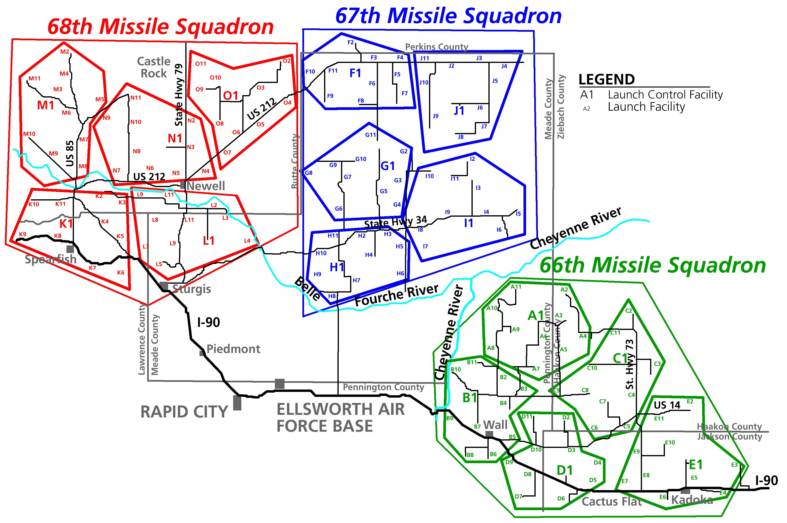44th Strategic Missile Wing map of Launch Control