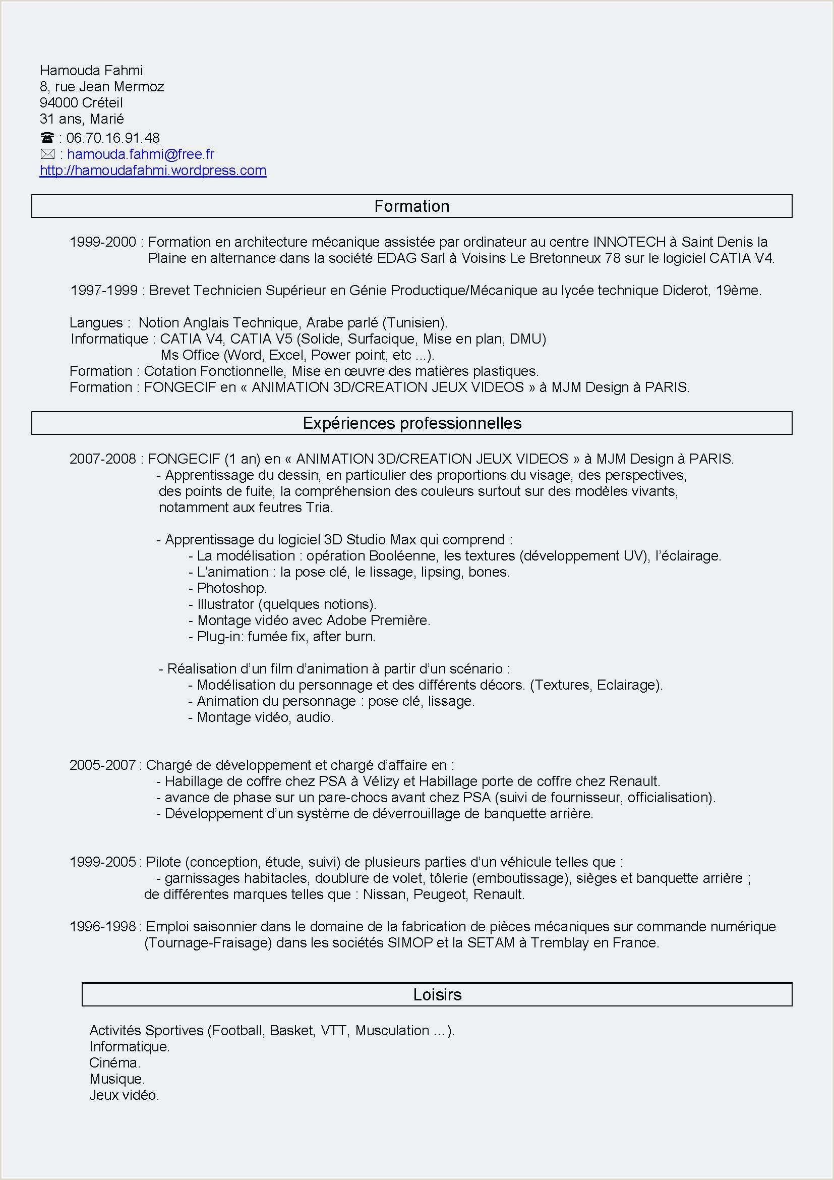 Exemple De Cv Niveau Bac Cv Words Resume Words Resume Template Free