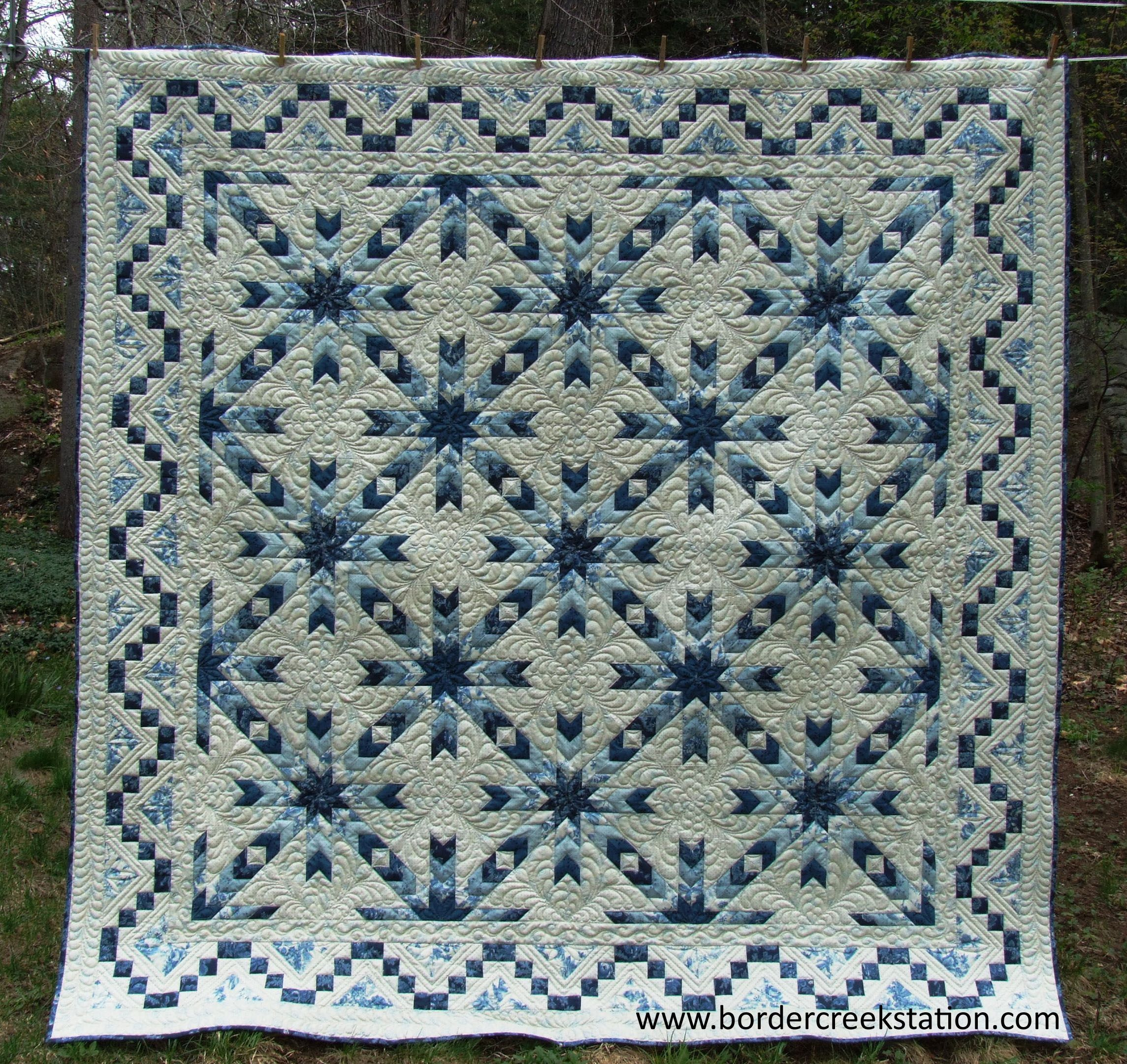 snowflake quilt 90 x 90 pattern and kit at border creek station