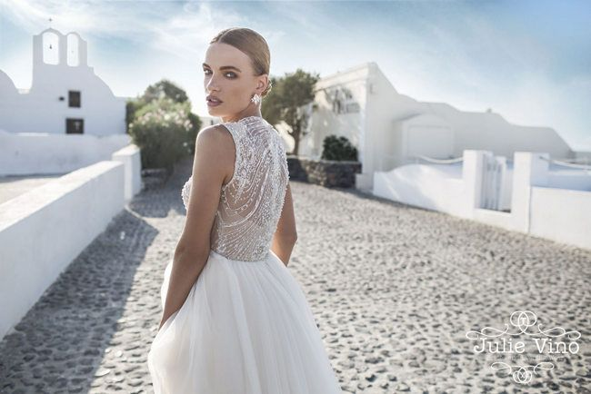 Chic illusion back wedding dress | Julie Vino Santorini Collection via @SouthBoundBride