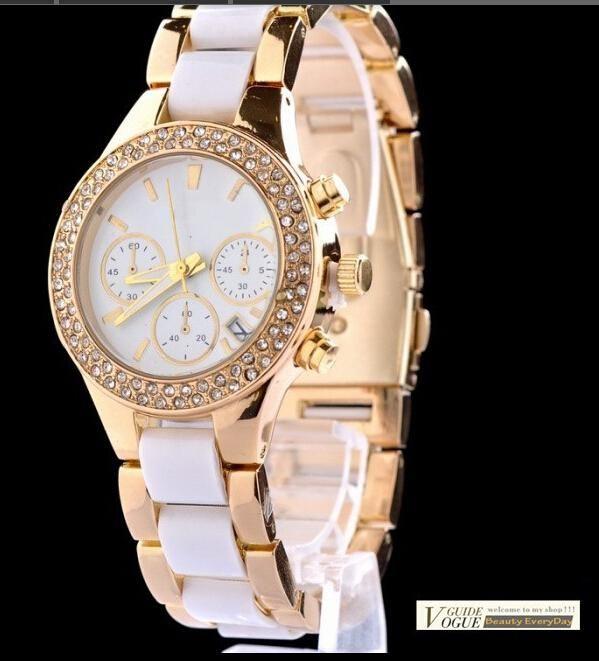Luxus Neues Kors Gold Doppel Strass Legierung Harz Uhren Frauen Damen Kleid Uhren Uhr Quarz Armbanduhr Von Michael Kors Uhr Damenuhren Und Uhrenmarken
