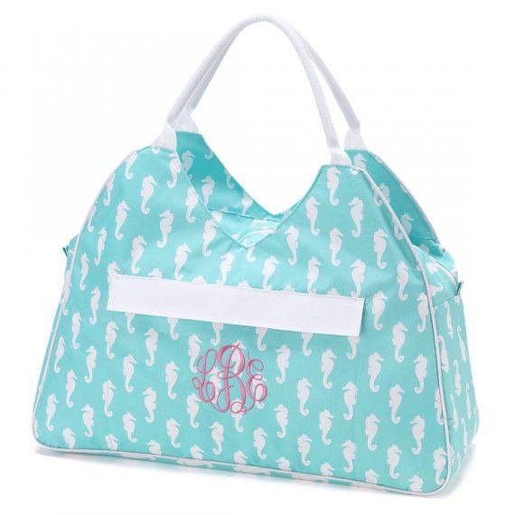 Personalized Beach Tote Bag~Aqua Seahorse #personalized #monogram ...