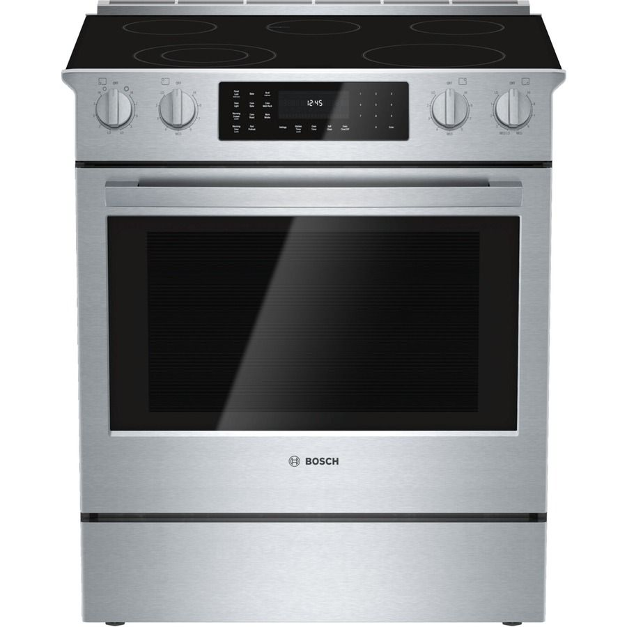 Shop Bosch 800 Series 30 In Smooth Surface 5 Element 4 6 Cu Ft Self Cleaning Slide In Convection Electric Slide In Range Convection Range Stainless Steel Range