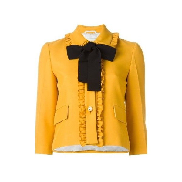 f27b2eded GUCCI Mustard Cady Boxy Jacket ($1,604) ❤ liked on Polyvore featuring  outerwear, jackets, yellow, yellow jacket, mustard jacket, boxy jacket, ...