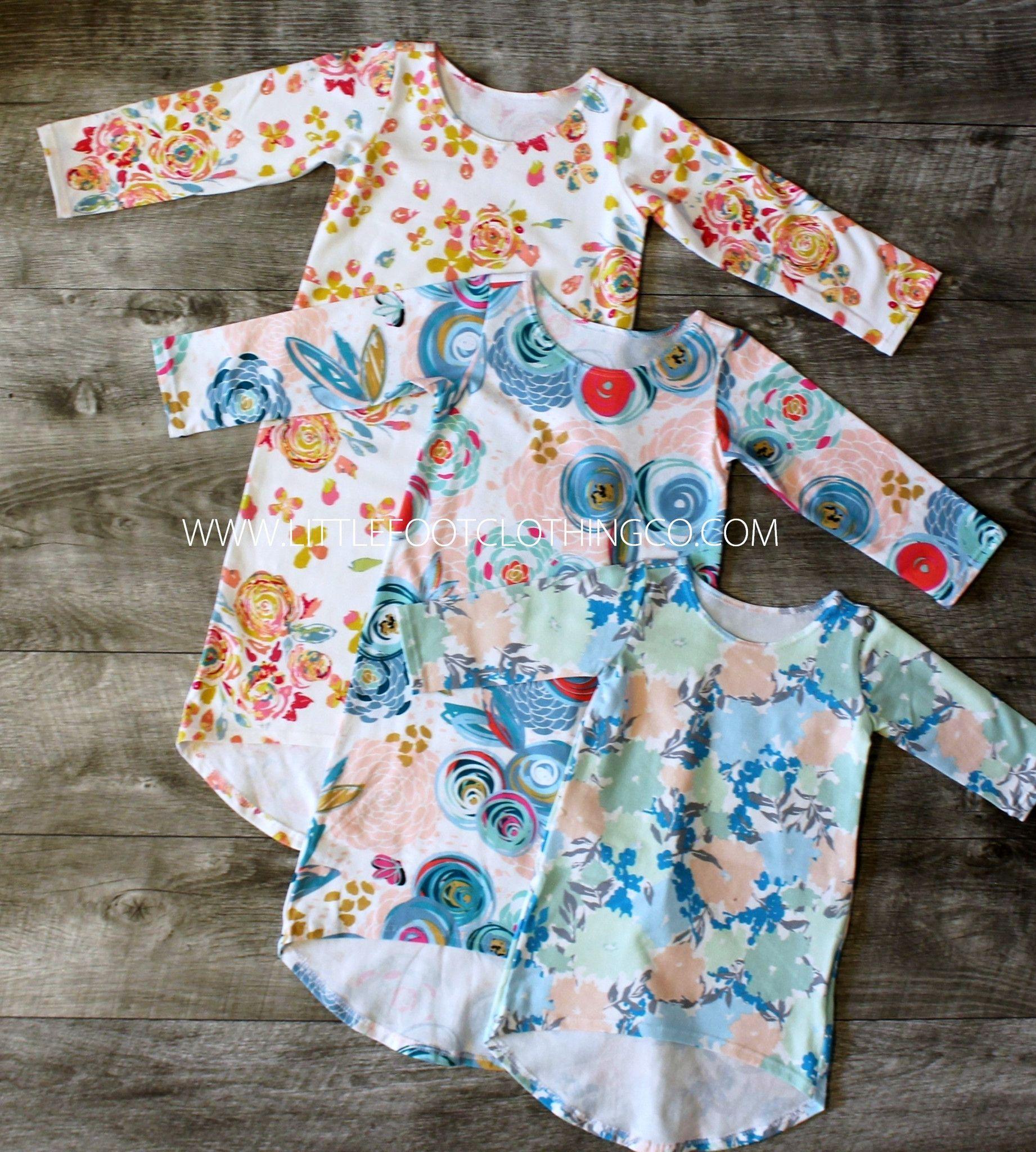 Girls long sleeve maxi dress floral designs baby girls toddler