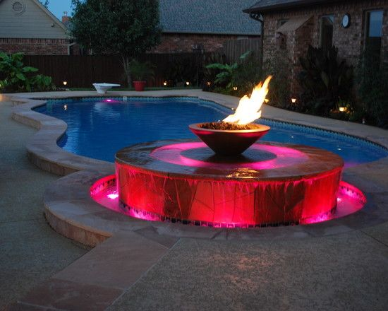 Pool With Fire Fountain Backyard Pool Designs Pool Designs