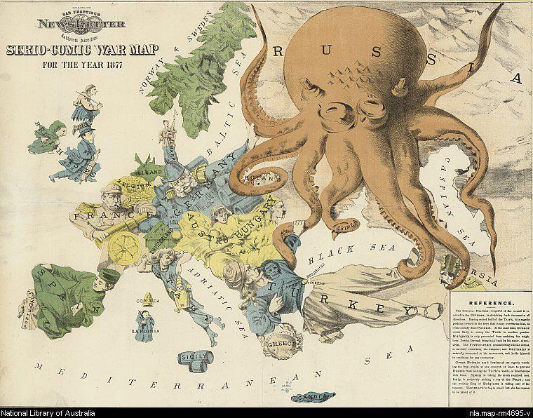 Mapa-comic de Europa de 1877 representando a Rusia como un gran pulpo durante la Gran Crisis del Este.