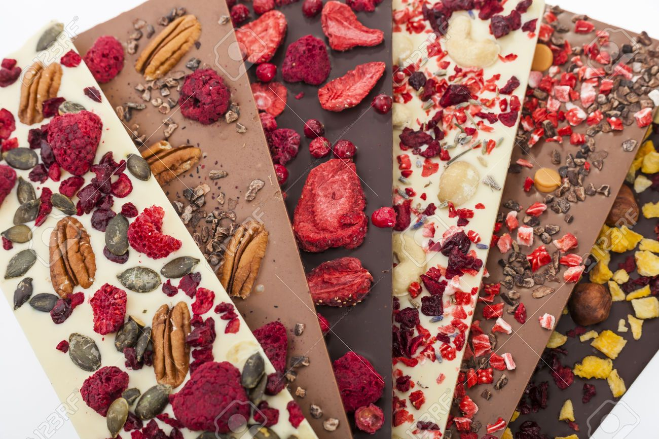 Handmade White Milk And Dark Chocolate Bars With Dried Fruits And Nuts On White Background Chocolate Bark Recipe Chocolate Fruit Homemade Chocolate Bars