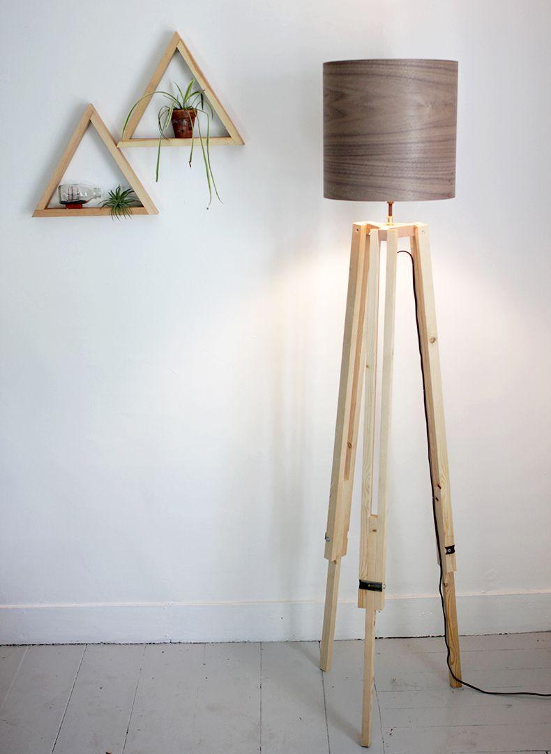 Diy Tripod Floor Lamp Abajur De Madeira Decoracao De Casa Cupula De Abajur