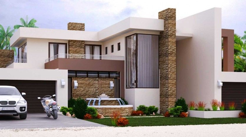 Modern style house plan 4 bedroom double storey floor for 6 bedroom double storey house plans