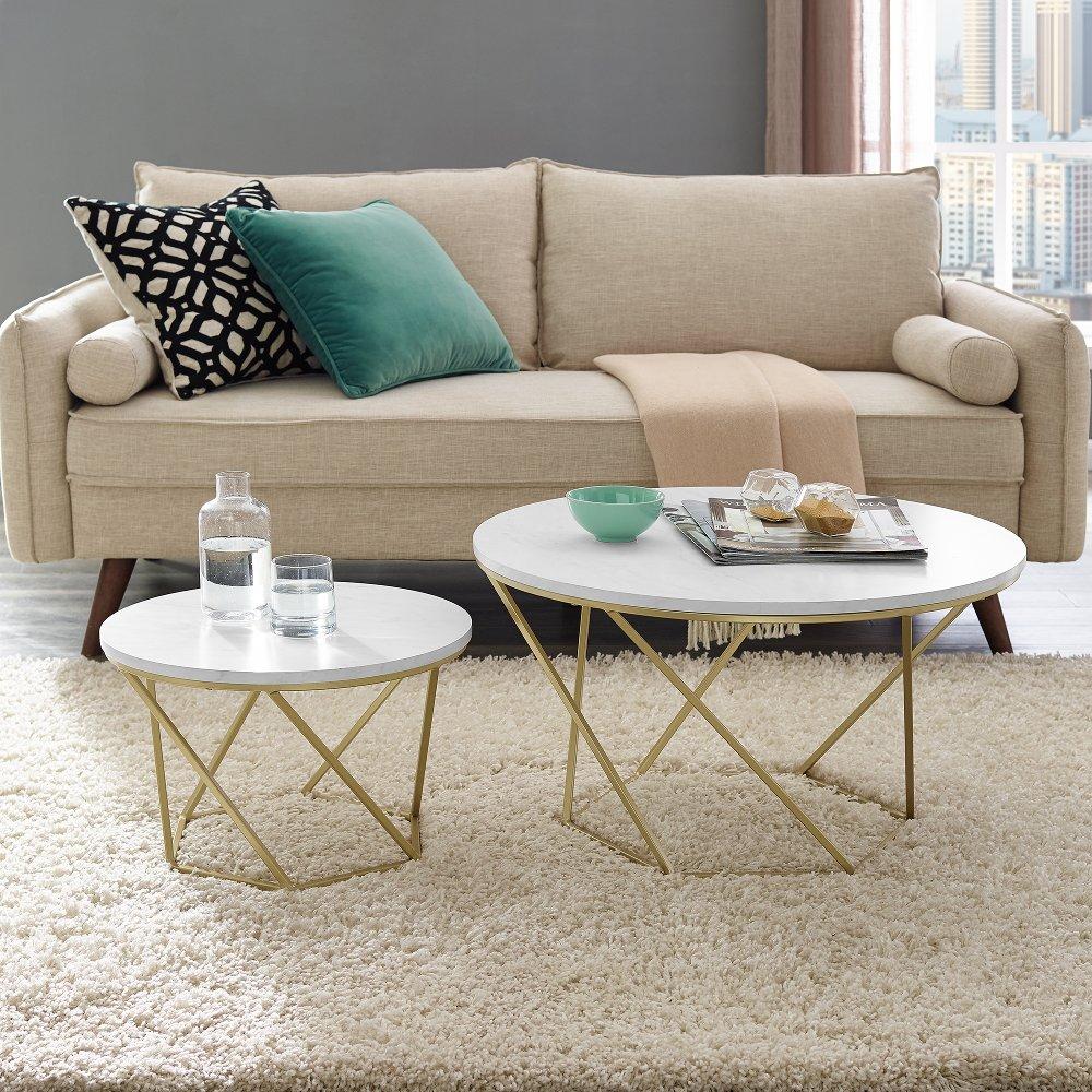 Modern Nesting Coffee Table Set - White Marble/Gold | Nesting coffee tables, Living room accent ...