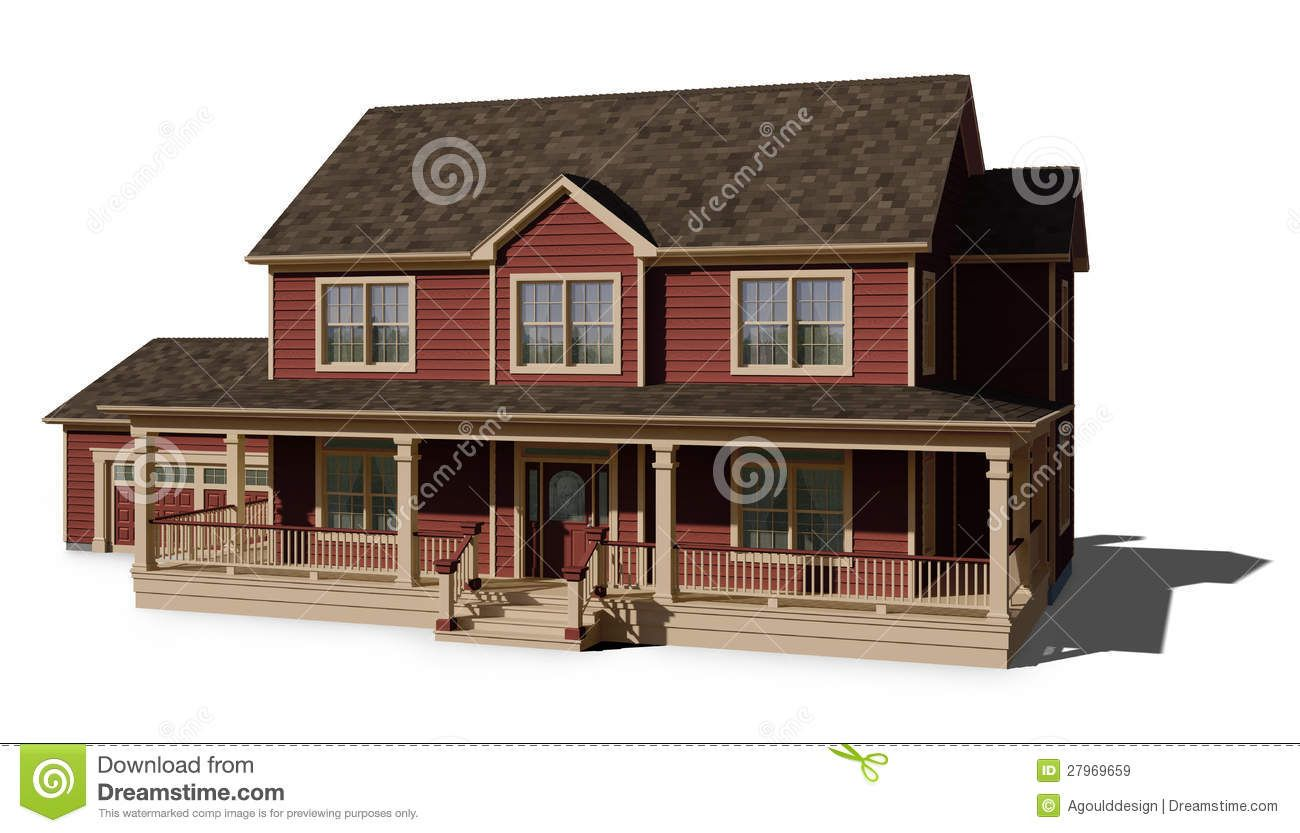 Two story house red royalty free stock images image - How to paint a 2 story house exterior ...