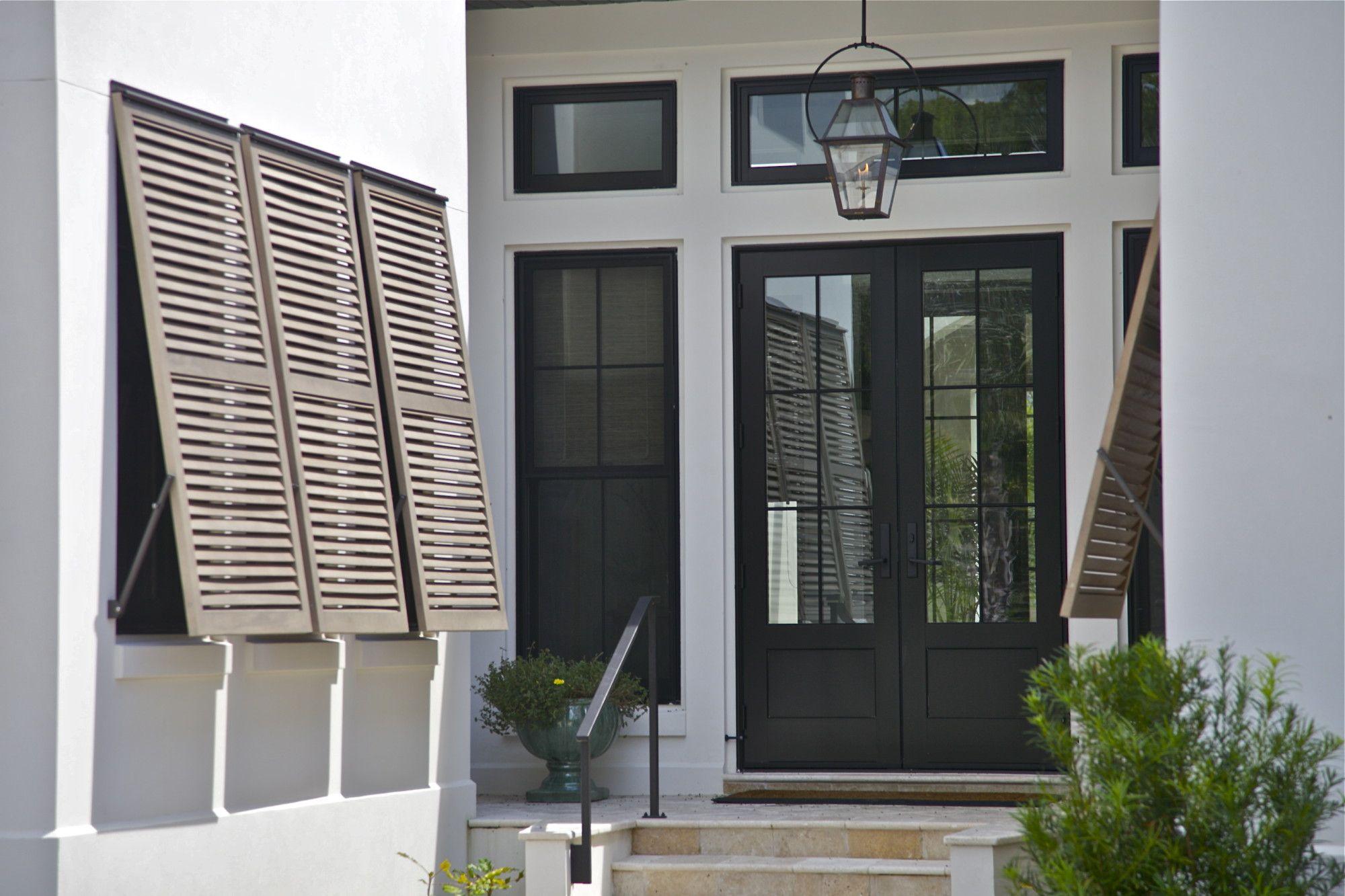 Black front door with black shutters - Doors Traditional Exterior New Orleans Northshore Millwork Llc