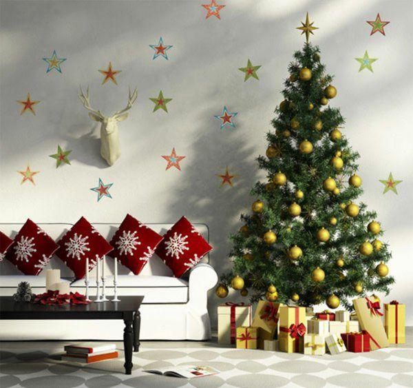 Weihnachtsdekoration Ideen weihnachtsdekoration ideen wanddeko sterne weihnachtsbaum