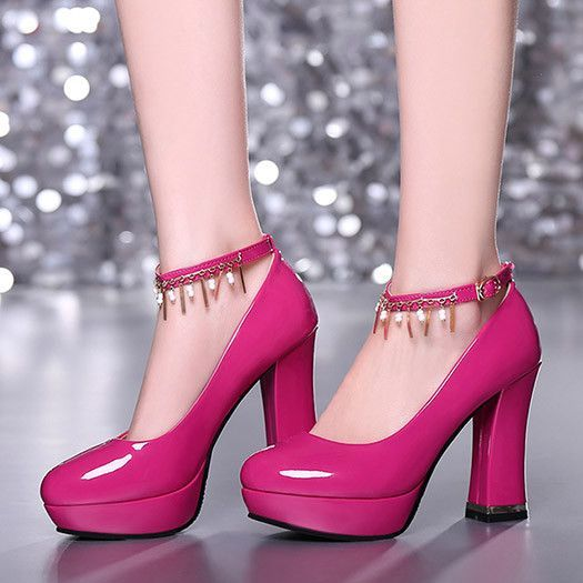 Fashion Glossy Four Seasons Chains Retro Vintage Shoes In Small Sizes For Women Big Size Shoe Platform Chunky High Heels Sexy