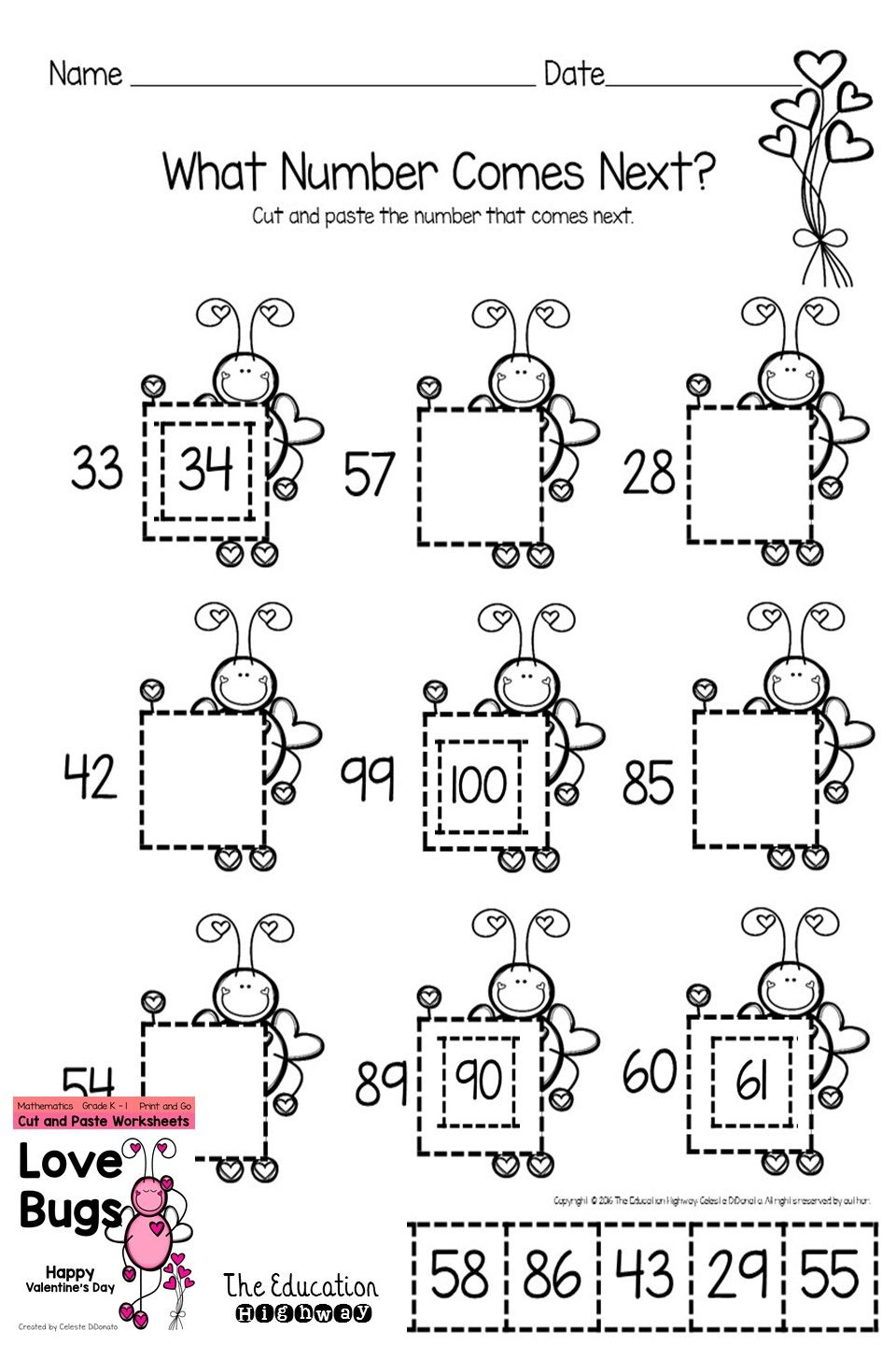 Valentine\'s Day Math Cut and Paste Printables | Math, Teaching ...