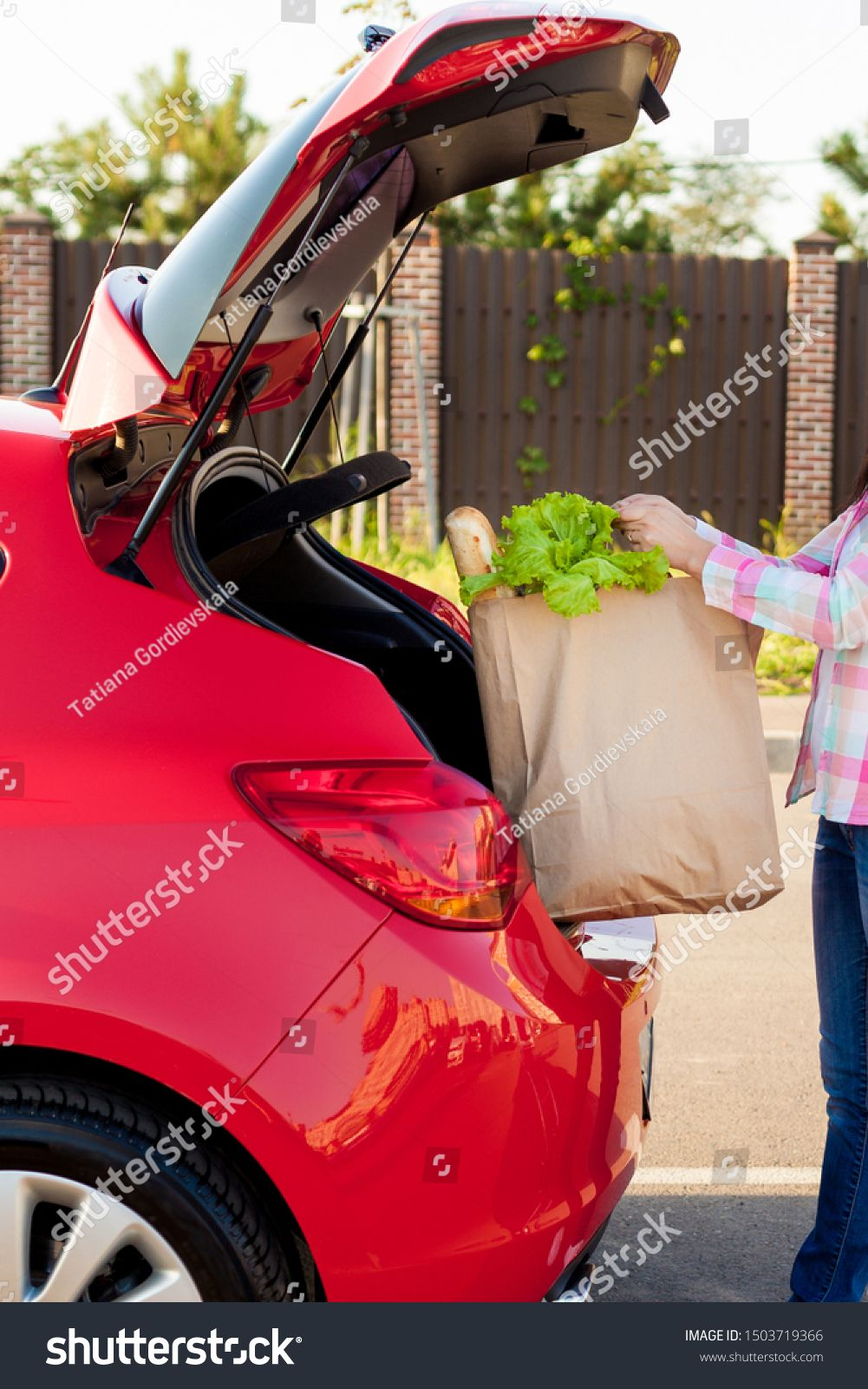 Young woman putting groceries from a supermarket in paper