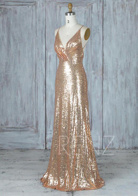 Bridesmaid Dress Gold Sequin Dress,Wedding Dress,Ruched V Neck ...