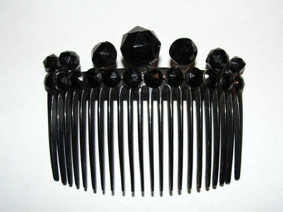 Buy Victorian Black Celluloid Hair Comb w/ Faceted Jet | Jasper52 in NY