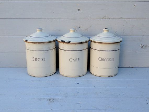 French Enamelware Kitchen Storage Containers Jars Tins Set Of