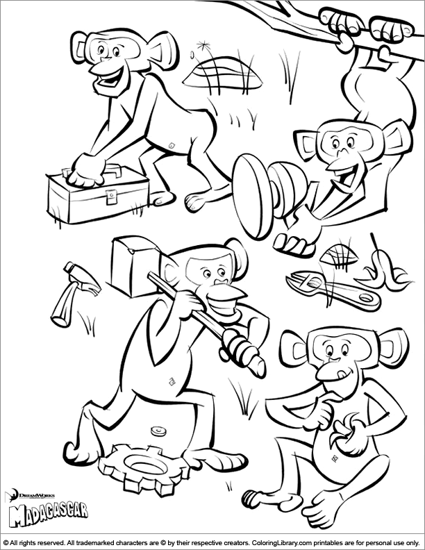 Madagascar Coloring Page With A Lot Of Funny Monkeys Critters