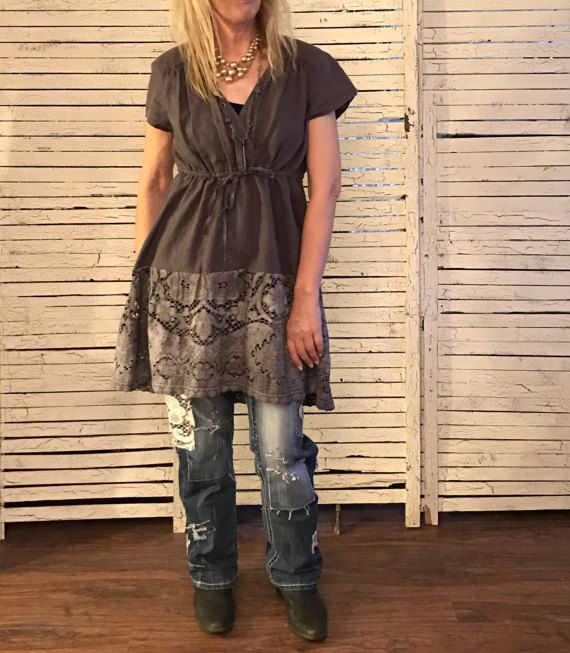 One size fits most linen top or dress, great casual look for layering. V-neck, short cropped sleeves, and a drawstring at empire waist. I have added length with a vintage lace table-cloth, hand dyed in Pearl Gray.  Shown here with my Distressed Jeans (sold separately) as a long top. One size up to about L/XL Bust: about 42 Hips: about 50 Length: about 33 front, 36 back  Machine wash cold, gentle cycle. Tumble dry, or lay flat to dry. Wrinkled look is best! Please wash separately for the ...