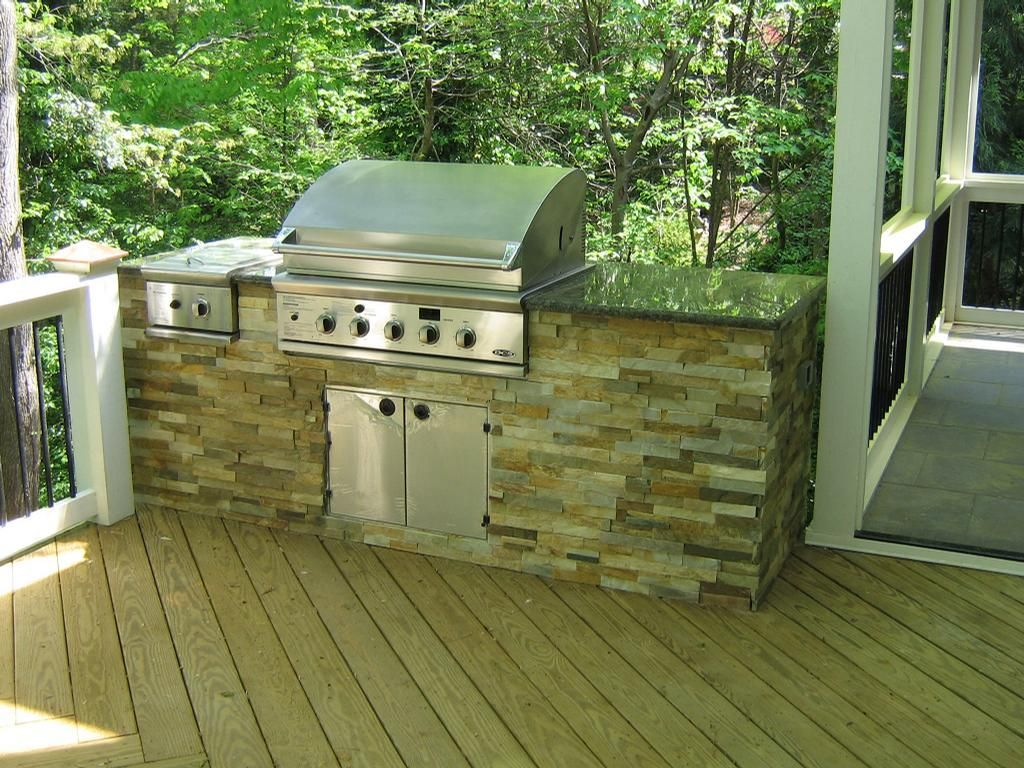 Breathtaking Outdoor Kitchens On Decks With Black Granite Kitchen Countertops And Built In Grill Also Stone Veneer Island From Diy