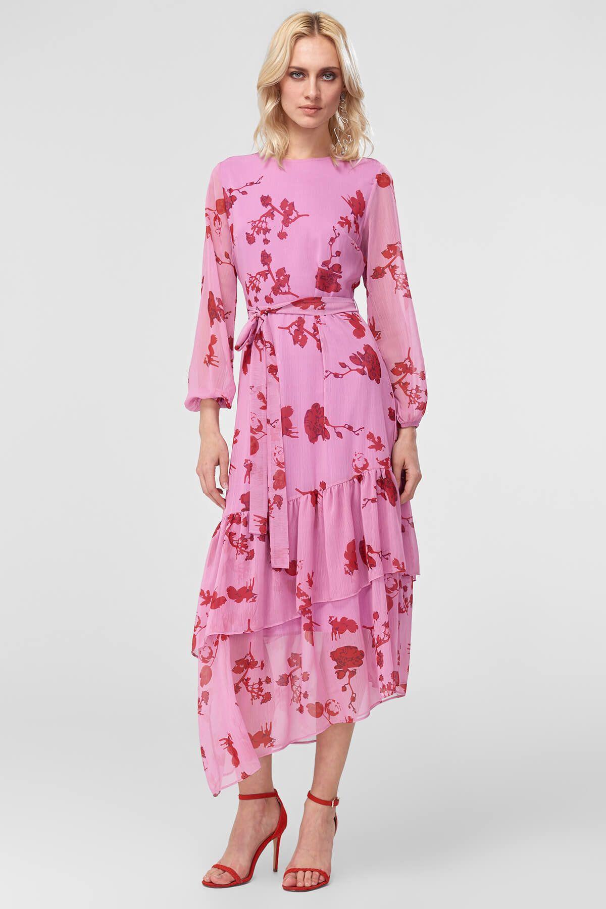 Lila Etek Ucu Volanli Elbise Trendyolmilla Trendyol Elbise Moda Stilleri Kiyafet